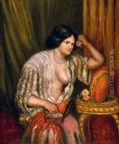 Gabrielle With Jewelry Oil Painting - Pierre Auguste Renoir
