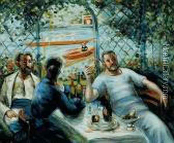 Lunch At The Restaurant Fournaise (the Rowers Lunch) Oil Painting - Pierre Auguste Renoir