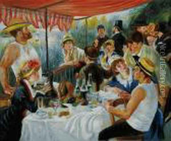 Luncheon Of The Boating Party Oil Painting - Pierre Auguste Renoir