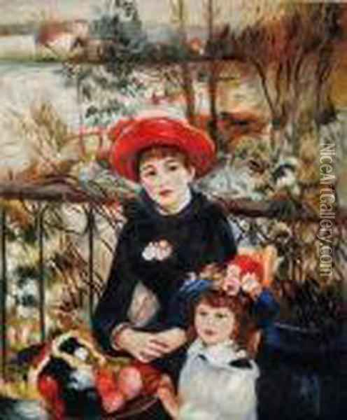 Sisters On The Terrace Oil Painting - Pierre Auguste Renoir