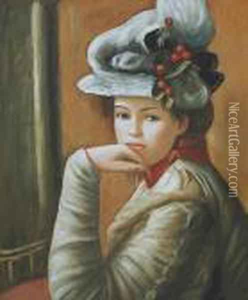 Young Girl With A White Hat Oil Painting - Pierre Auguste Renoir