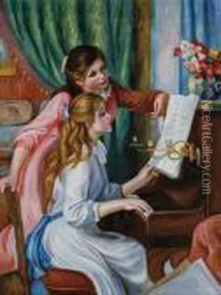 Girls At The Piano Oil Painting - Pierre Auguste Renoir