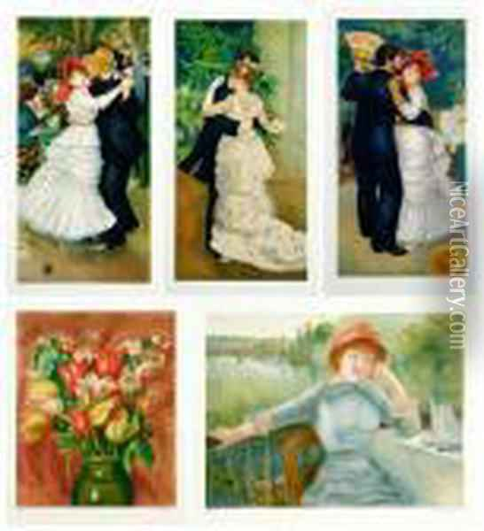 Dancing Couples: Seven With Woman In Flowered Dress Oil Painting - Pierre Auguste Renoir