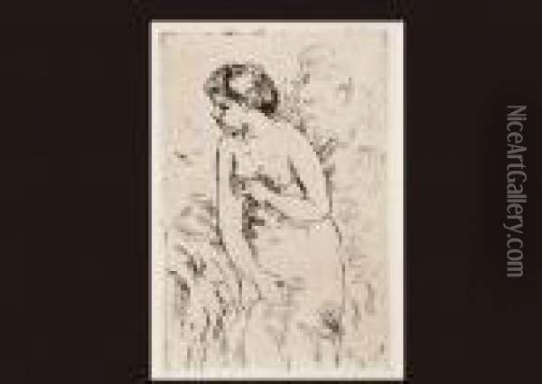 Bathing Woman Oil Painting - Pierre Auguste Renoir