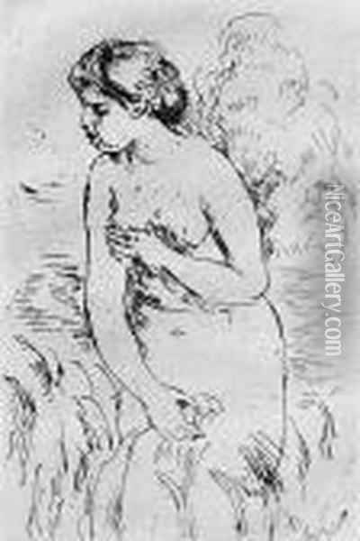 Baigneuse Debout, Ami-jambes Oil Painting - Pierre Auguste Renoir