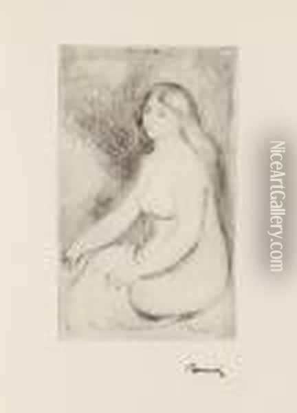 Baigneuse Assise Oil Painting - Pierre Auguste Renoir