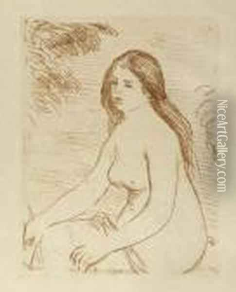 Baigneuse Assise. Oil Painting - Pierre Auguste Renoir