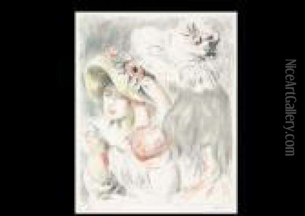 Hatwith A Pin (estamp) Oil Painting - Pierre Auguste Renoir