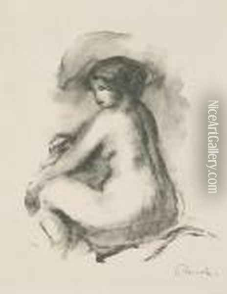 Etude De Femme Nue, Assise, From Douze Lithographies... (d.; S. 42), 1904 Oil Painting - Pierre Auguste Renoir