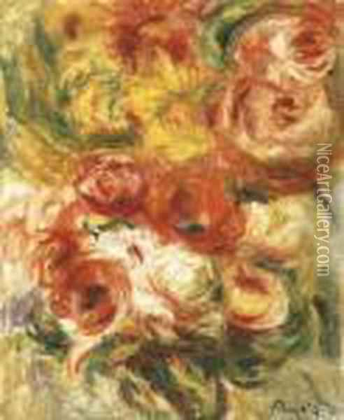 Bouquet De Roses Oil Painting - Pierre Auguste Renoir