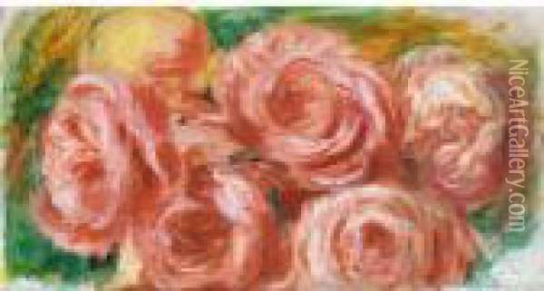 Les Roses Rouges Oil Painting - Pierre Auguste Renoir