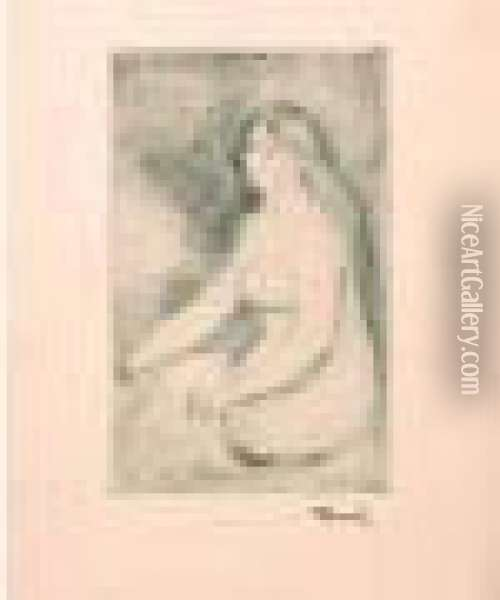Baigneuse Assise. (d. 11) 220 X 138. Oil Painting - Pierre Auguste Renoir