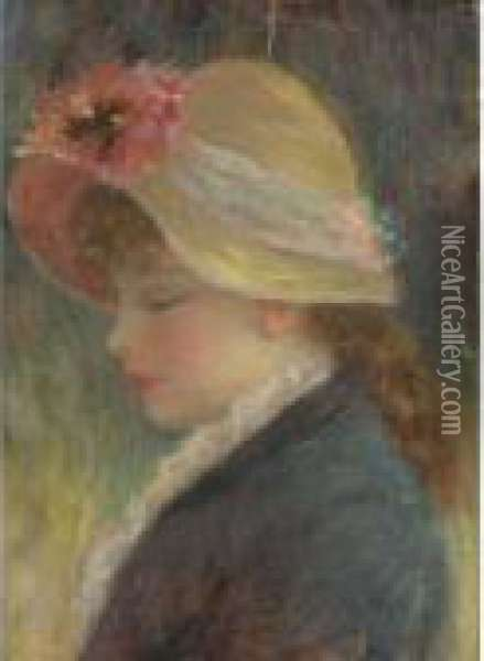A Young Girl In A Flowered Hat Oil Painting - Pierre Auguste Renoir