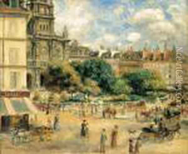 Place De La Trinite Oil Painting - Pierre Auguste Renoir
