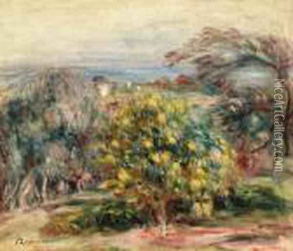 Paysage Des Collettes (landscape At Collettes) Oil Painting - Pierre Auguste Renoir