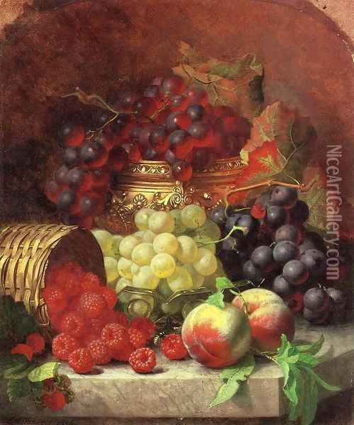 Black Grapes in a Gilt Bowl, Black and White Grapes in a Crystal Bowl, Peaches,Raspberries in a Wicker Basket and a Wasp on a Marble Ledge Oil Painting - Eloise Harriet Stannard