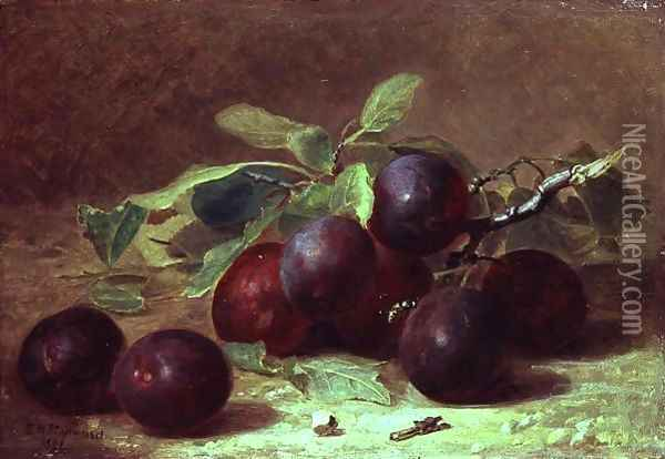 A Wasp Resting on a Sprig of Victoria Plums, 1891 Oil Painting - Eloise Harriet Stannard