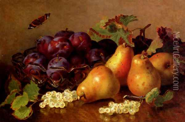 Still Life With Pears, Plums In A Glass BowlAnd White Currants On A Table Oil Painting - Eloise Harriet Stannard