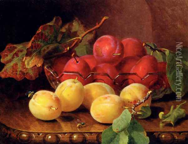 Plums On A Table In A Glass Bowl Oil Painting - Eloise Harriet Stannard