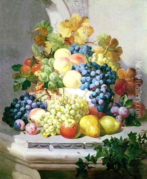 Still life with grapes and pears Oil Painting - Eloise Harriet Stannard