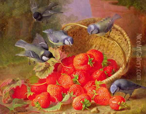Still Life with Strawberries and Bluetits Oil Painting - Eloise Harriet Stannard
