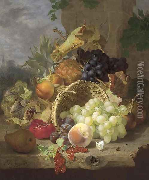 Apples, a pineapple and black grapes in a basket, beside an upturned basket with a pear, plums, redcurrants, a peach, white grapes Oil Painting - Eloise Harriet Stannard