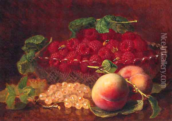 Peaches, Whitecurrants, Raspberries in a glass Bowl, and Wasps Oil Painting - Eloise Harriet Stannard