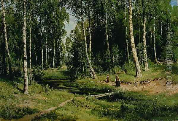 In The Birch Tree Forest, 1883 Oil Painting - Ivan Shishkin