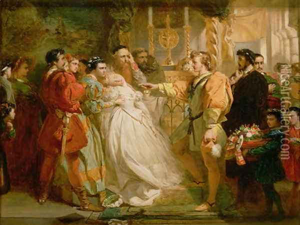 Claudio, deceived by Don John, accuses Hero, from Much Ado About Nothing, 1861 Oil Painting - Marcus Stone