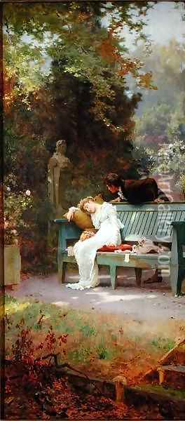 A Stolen Kiss 2 Oil Painting - Marcus Stone