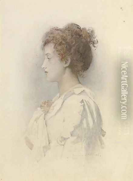 Profile of a young debutante Oil Painting - Marcus Stone