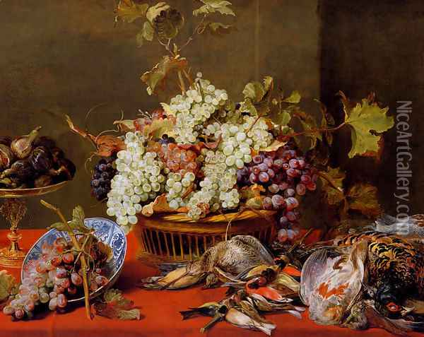 A Still Life Of Grapes In A Basket And A Bunch In A Wan-li 'Kraak' Porcelain Bowl With Figs In A Tazza On A Red Draped Ledge With A Woodstock, Pheasants, A Partridge And Other Birds Oil Painting - Frans Snyders