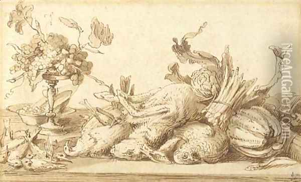 A still life with birds, rabbits and vegetables, with a plate and a tazza with grapes Oil Painting - Frans Snyders