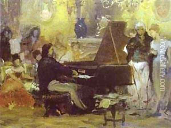 Chopin Performing In The Guest Hall 1887 Oil Painting - Henryk Hector Siemiradzki
