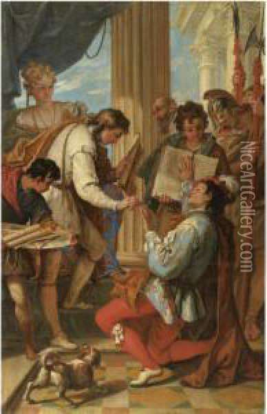 The Investiture Of Marco Corner As Count Of Zara In 1344 Oil Painting - Sebastiano Ricci