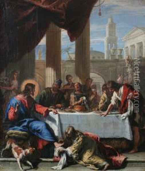 Mary Magdalen Anointing The Feet Of Christ Oil Painting - Sebastiano Ricci