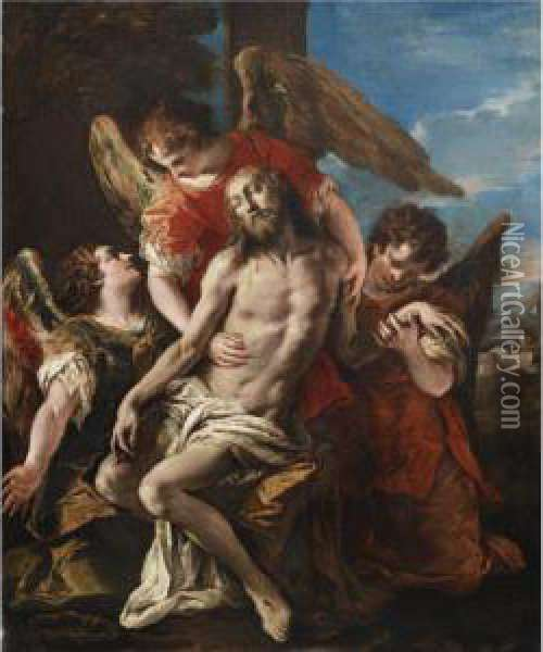 Christ Mourned By Three Angels Oil Painting - Sebastiano Ricci