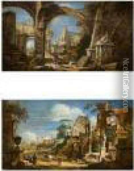 Paysages Aux Ruines Antiques Oil Painting - Sebastiano Ricci