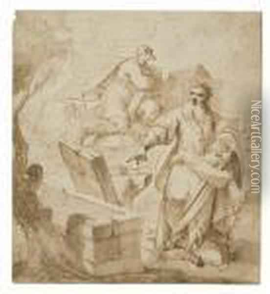 The Repentant Saint Peter At The Empty Tomb Of Christ Oil Painting - Sebastiano Ricci