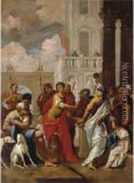The Head Of Pompey Delivered To Caesar Oil Painting - Sebastiano Ricci