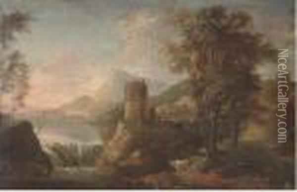 A Landscape With Figures Oil Painting - Sebastiano Ricci