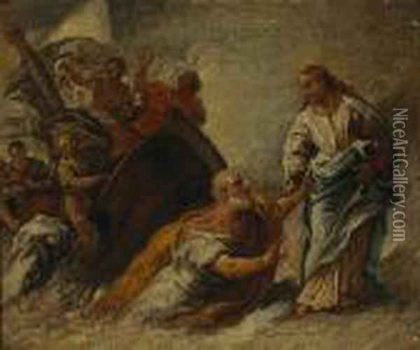 Christ And Saint Peter Upon The Sea Oil Painting - Sebastiano Ricci