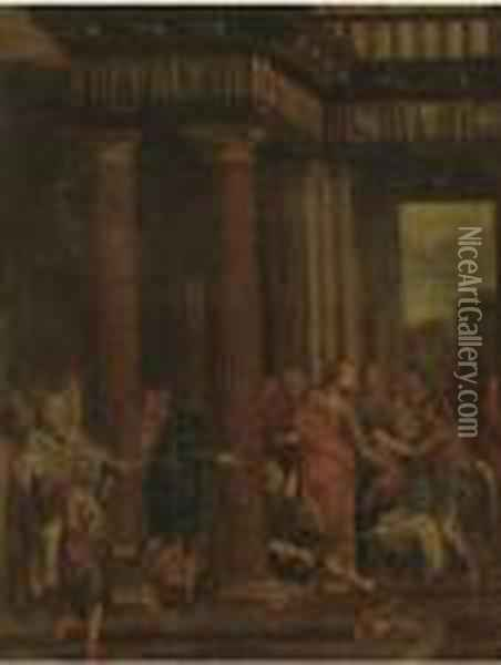 Christ Driving The Money-changers From The Temple Oil Painting - Sebastiano Ricci