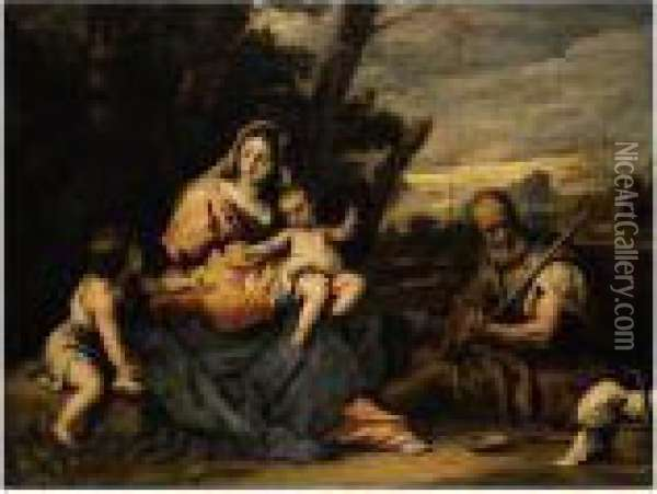 The Holy Family With The Infant Saint John The Baptist In A Landscape Oil Painting - Sebastiano Ricci