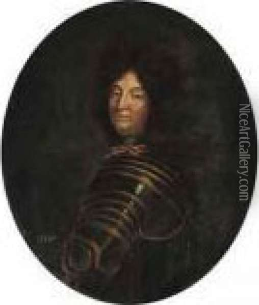 Portrait Of Louis Xiv, Half-length, In Armour Oil Painting - Hyacinthe Rigaud