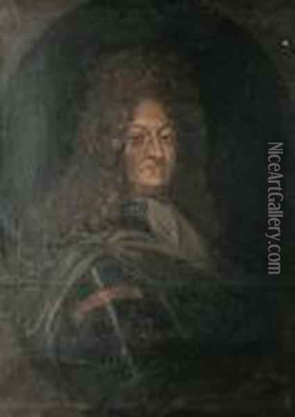 Portrait Of Louis Xiv, Bust-length, Within A Painted Oval Oil Painting - Hyacinthe Rigaud