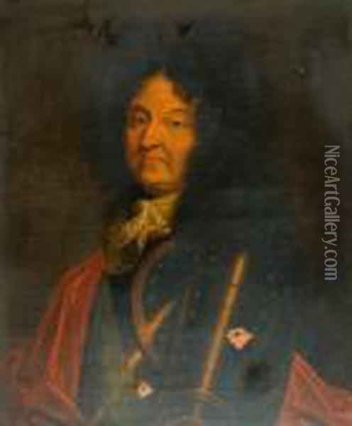 In The Manner Of Hyacinthe Rigaud, Half Length Portrait Of King Louis Xiv Wearing Armour Oil Painting - Hyacinthe Rigaud