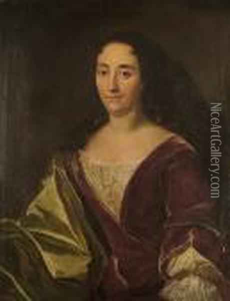 Portrait Of A Lady, Half-length, In Scarlet Robes Oil Painting - Hyacinthe Rigaud