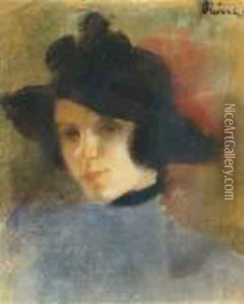 Young Woman In Black Hat Oil Painting - Jozsef Rippl-Ronai