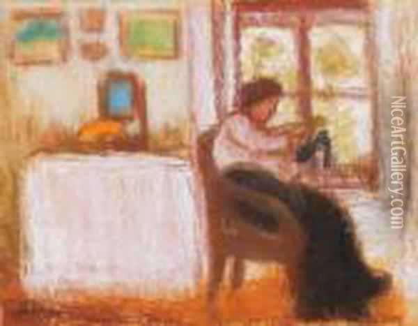 Sewing Woman By The Window (toeing A Sock) Oil Painting - Jozsef Rippl-Ronai